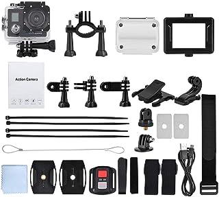 Topiky Kit de cámara de acción 4K WiFi portátil 30FPS HD 1080P Pantalla Doble LCD de 2  Impermeable bajo el Agua 30m Cámara Deportiva Ultra Gran Angular de 170 ° con batería Control Remoto