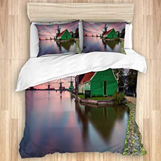 TOVIHUA Luxury Bedding Duvet Cover Hotel Dormitory,Holland Netherlands City Village Amsterdam Sunset Heritage Windmill Green House Lake,Seasons Available Personality New 3 Piece Set-King 104