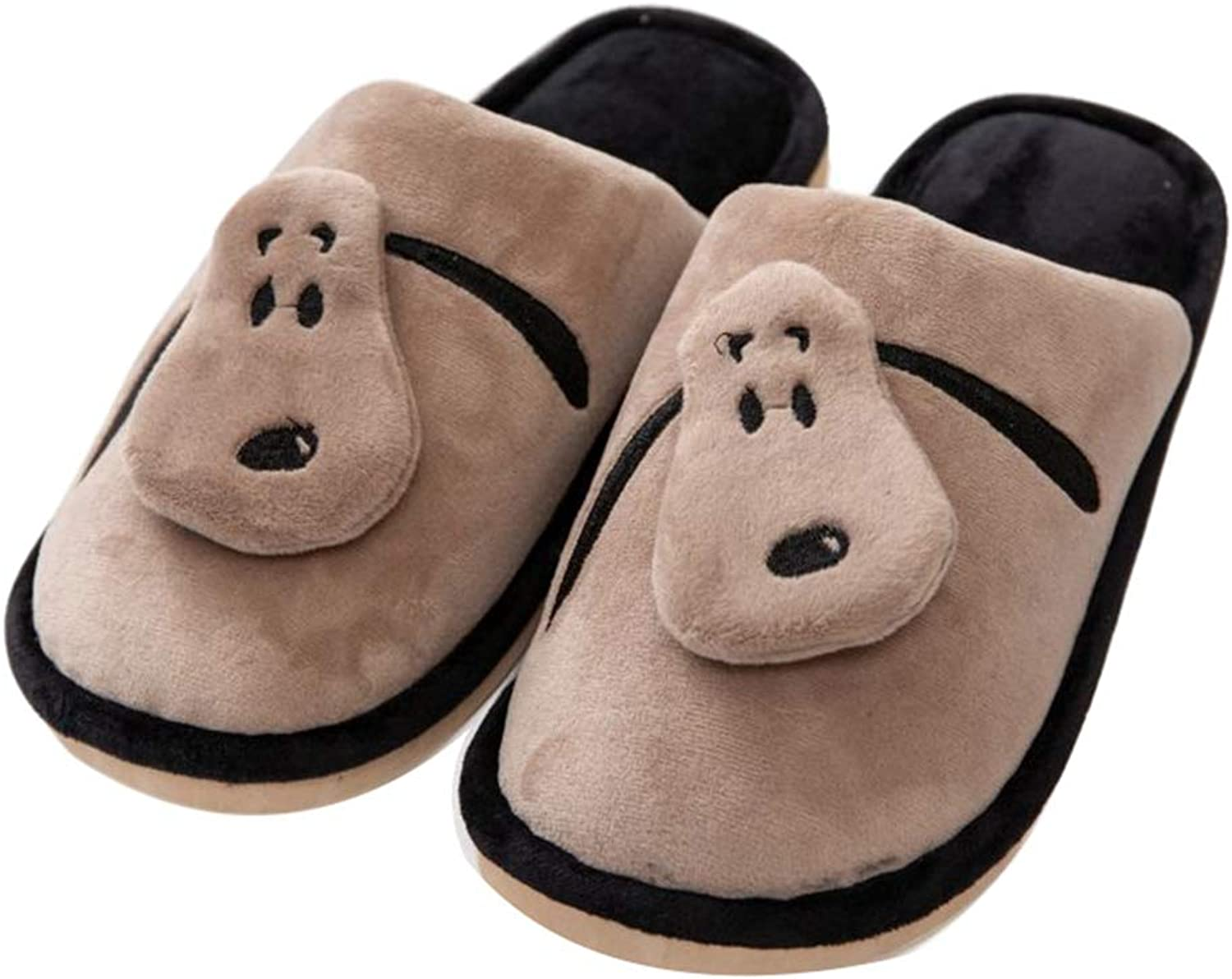 York Zhu Home Slippers for Women,3D Embroidery Animal Winter Warm Plush shoes Non Slip