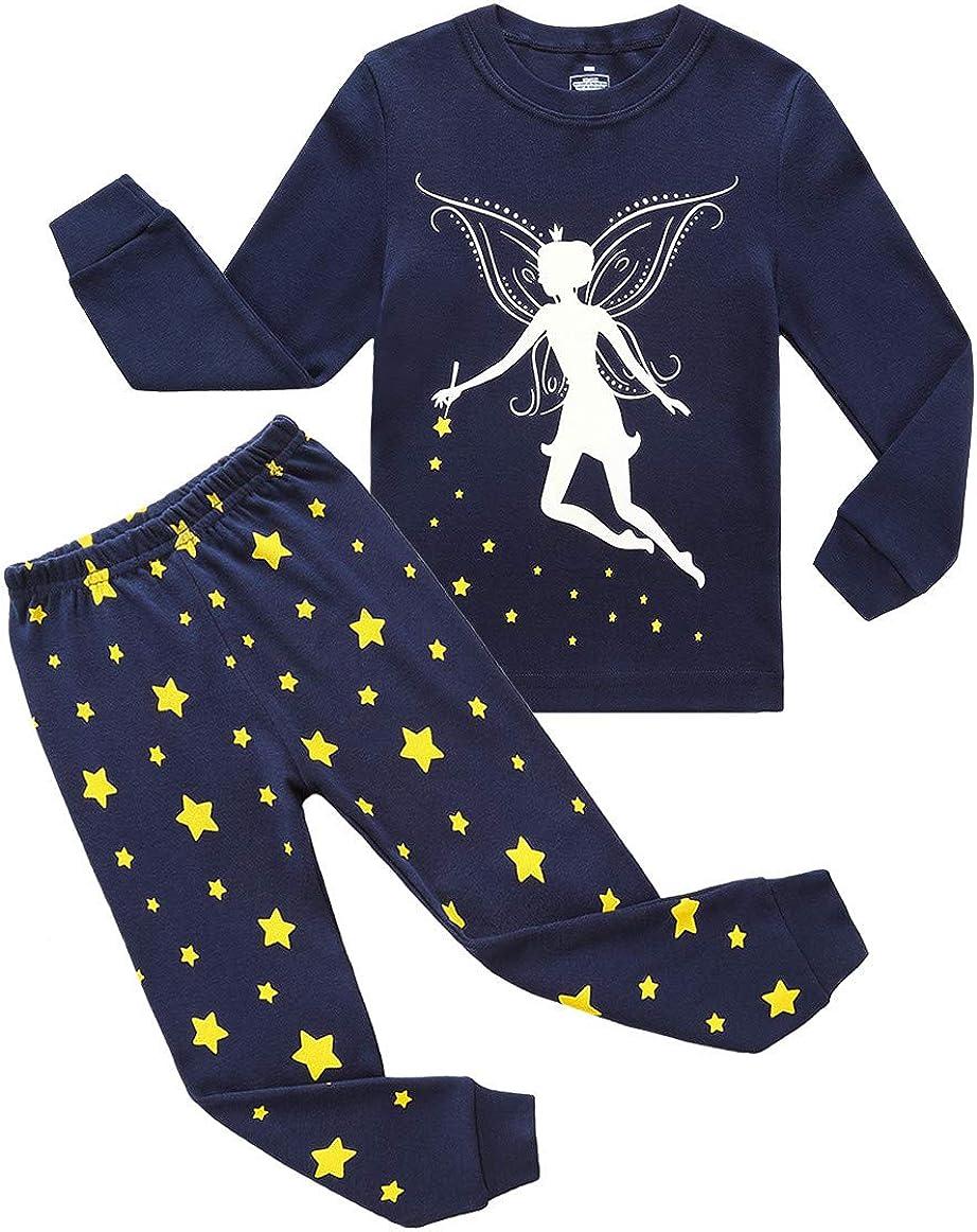 RKOIAN Little Girls' Long Sleeve Pajamas Sets Toddler 100% Cotton Pjs Kids Sleepwears