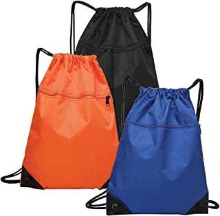 3 Pack Drawstring Strings Bags with Pockets Sports Athletic School Travel Gym Cinch Sack Lightweight Backpack for Men and Women, Black Orange Blue