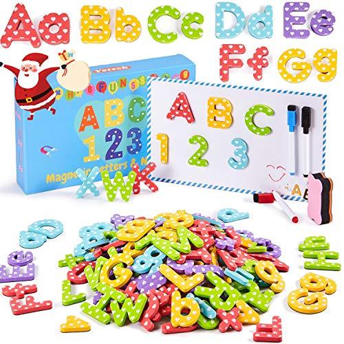 Yetech 140 Pezzi Lettere e Numeri magnetici per Bambini - con Lavagna Magnetica Spessa Schiuma magneti frigo Lettere per l'apprendimento in età prescolare