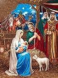 Cuadro De Diamantes 5D_El Nacimiento de Jesus Diamond Painting Kits 40x50cm_Punto de Cruz Diamante Completo Amantes del Arte Mosaico Decorativo
