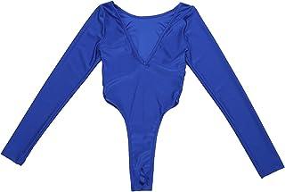 Freebily Women s One Piece Deep V Neck Bodysuit Crotchless Thong Leotard Top 51dddea33