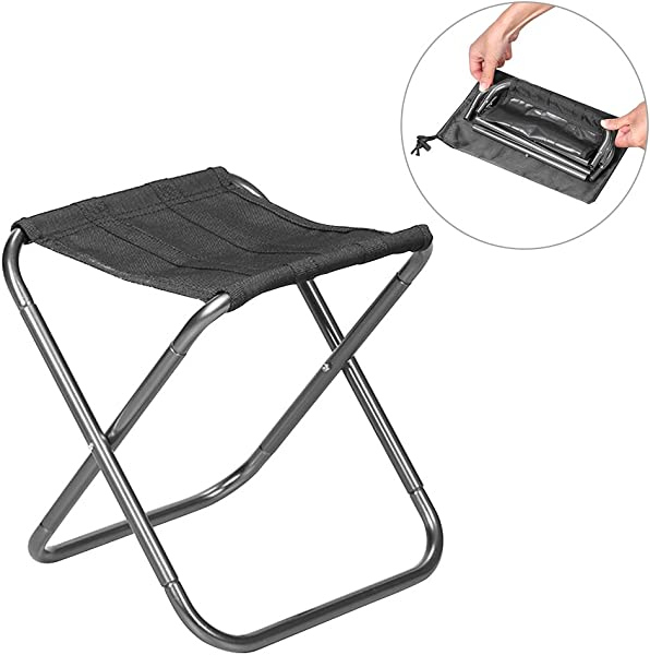 SHZONS Camping Stool Folding Aluminum Alloy Portable Entertainment Fishing Seat Road Camping Chair BBQ Stool For Hiking Fishing Travel Backpacking 10 63 10 04 9 06 In