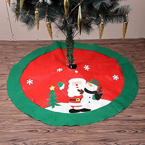 Sapin de Noël, entouré à la base d'un tapis circulaire montrant le père Noël qui porte un bonhomme de neige, Red, 100 cm