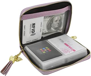 Lacheln RFID Blocking Credit Card Organizer Wallet Genuine Leather Zipper Security Travel Small Money Holder 20 Card Slots