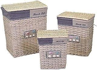 Vacchetti 1943030000 Lot de 3 paniers en Osier, crème, Moyenne, Couleur crème