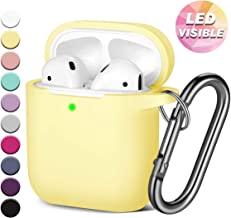 GEAK for AirPods Case (Front LED Visible), Shockproof Soft Silicone Protective Case Compatible with Apple AirPods 2 & 1, Milk Yellow