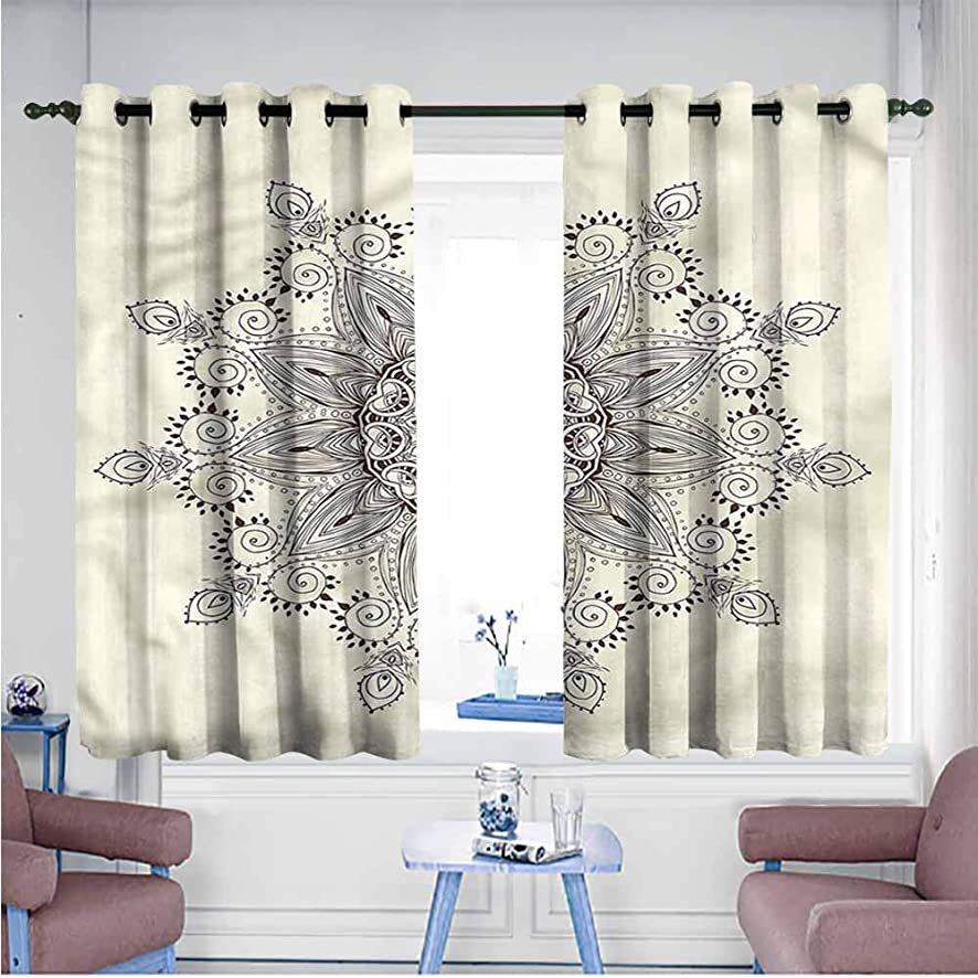 SAMEK Indoor/Outdoor Curtains,Lotus Henna Lace Motif,Great for Living Rooms & Bedrooms,W55x72L