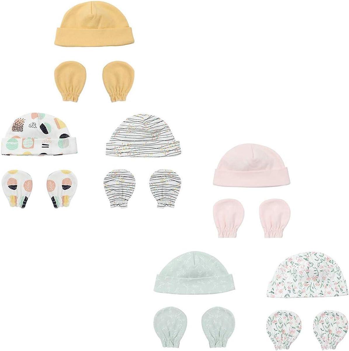 Newborn Beanie Hat Gloves Set Baby Girl Beanie Spring Summer Autumn Winter Hats for 0-6 Months Infant Cotton