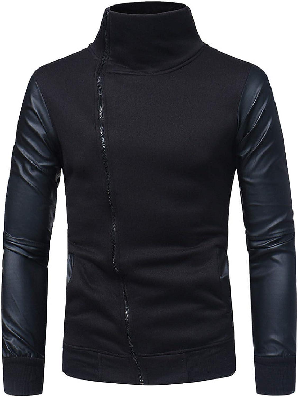 Leather sleeve stitching men's casual slim standing collar zipper cardigan sweater
