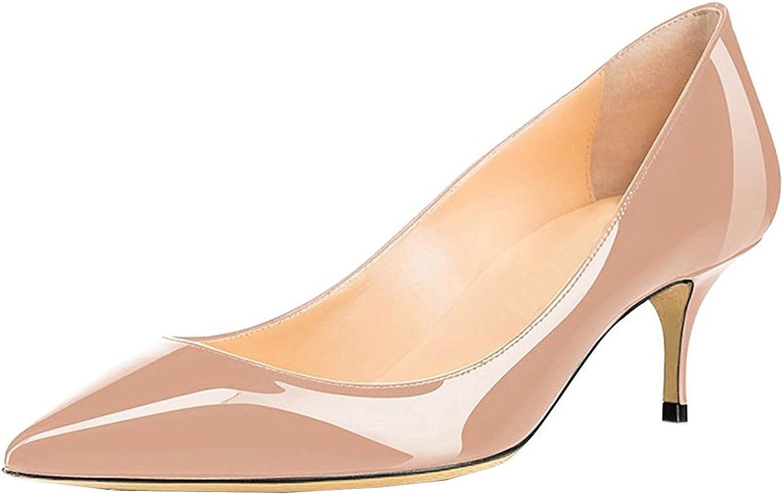 LOVIRS Womens Office Slip on Kitten Heel Low Heel Pumps Pointed Toe shoes for Party Dress 6.5cm