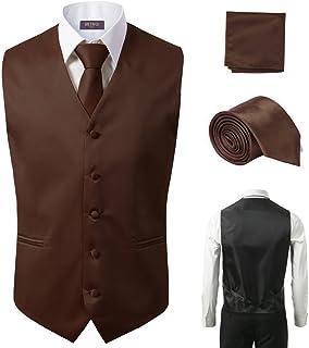 3 Pcs Vest + Tie + Hankie Brown Fashion Men's Formal Dress Suit Waistcoat