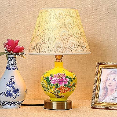 YMLSD Lámparas de Escritorio, Lámpara de Noche de Porcelana Arte Escultura Aplique Mandarin Desk Light New Rose Peacock Tail Pantalla Lámpara Lámpara de Mesa Estilo Chino,C