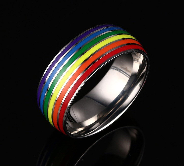 Nanafast 8mm Stainless Steel Enamel Rainbow LGBT Pride Ring for Lesbian /& Gay Wedding Engagement Band