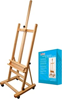 US Art Supply 70 to 96 inch Tall Adjustable Classic Hand-Finished Wood Studio Adjustable H-Frame Artist Easel