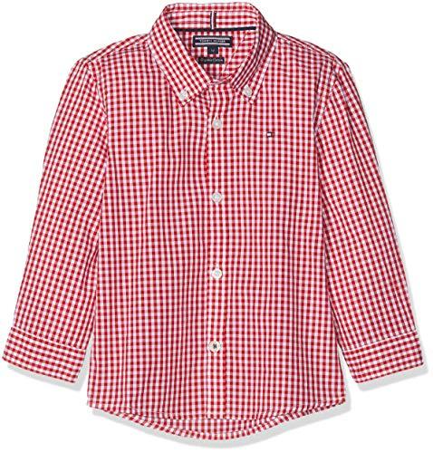 Tommy Hilfiger Jungen Boys Gingham Shirt L/S Hemd, Rot (Apple Red 600), 98 (Herstellergröße: 3)