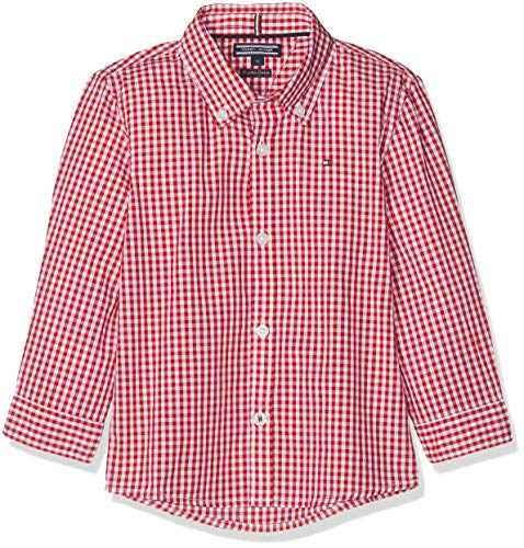 Tommy Hilfiger Jungen Boys Gingham Shirt L/S Hemd, Rot (Apple Red 600), (Herstellergröße: 92)