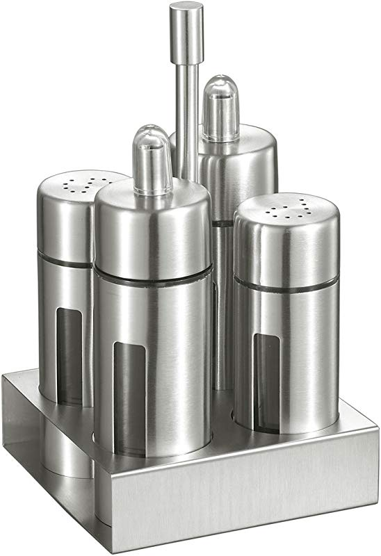 Visol Products Foxdale Stainless Steel Salt And Pepper Shakers Oil And Vinegar Bottles Set Silver