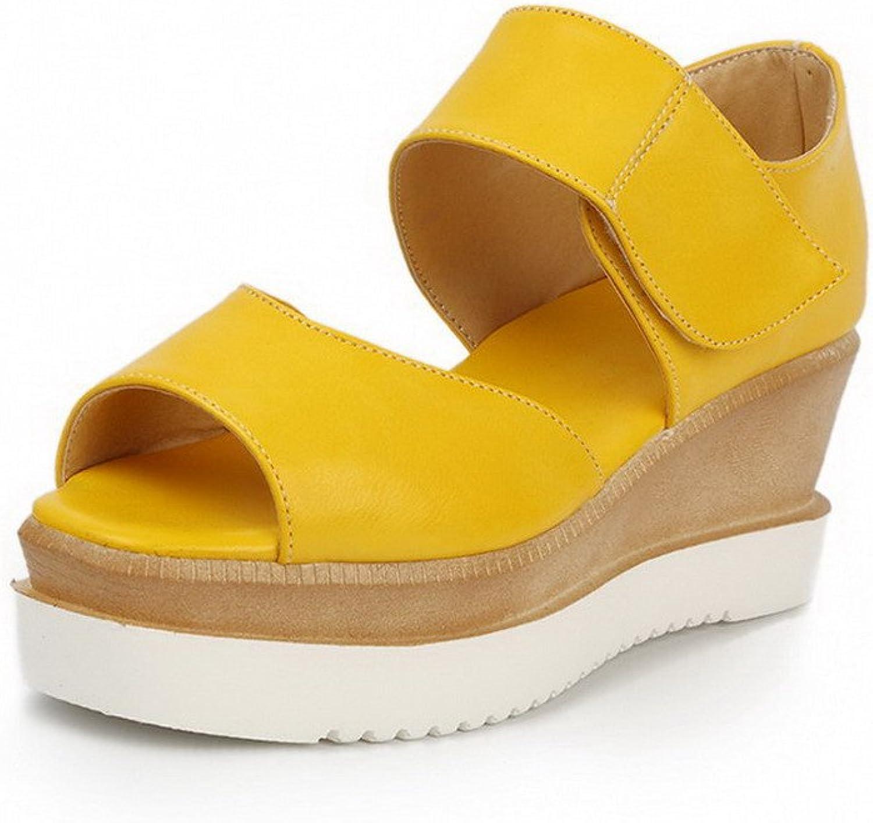 WeenFashion Women's Solid Pu Kitten Heels Peep Toe Hook and Loop Sandals