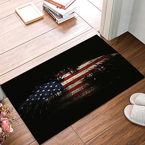 Big buy store Best Beautiful American Flag,Rustic Red Blue White Doormats Entrance Front Door Rug Outdoors/Indoor/Bathroom/Kitchen/Bedroom/Entryway Floor Mats,Home Decor Non Slip,18 x 30inch