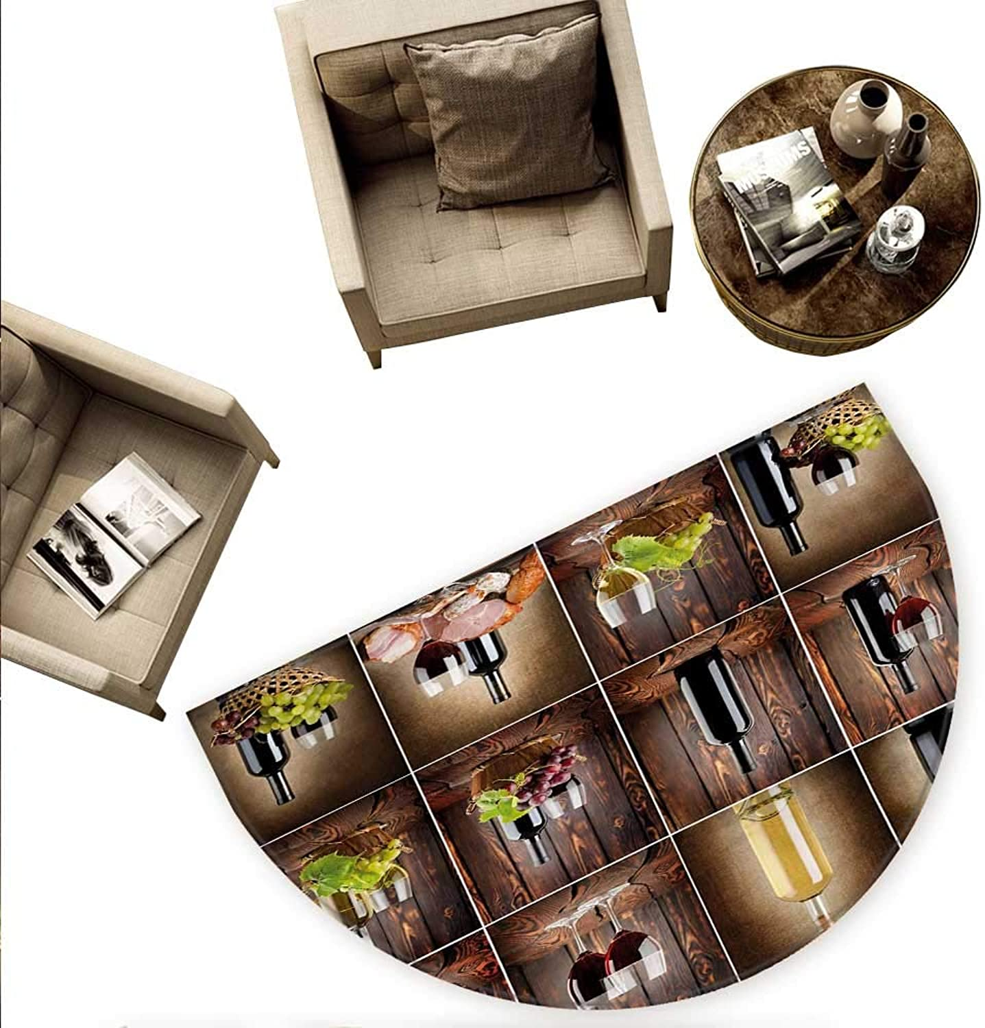 Wine Semicircular Cushion Wine Themed Collage on Wooden Backdrop with Grapes and Meat Rustic Country Drink Entry Door Mat H 70.8  xD 106.3  Brown Black Red
