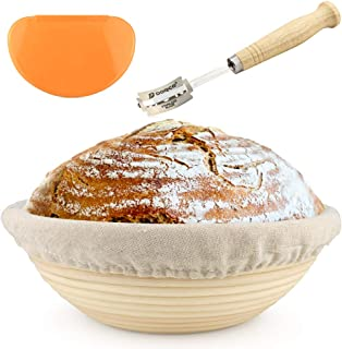 10 inch Banneton - Bread Proofing Basket - with Cloth Liner, Wooden Bread Lame, and Dough Scraper - Perfect for Baking, Proofing, and Rising Sourdough Bread - Boost Baking