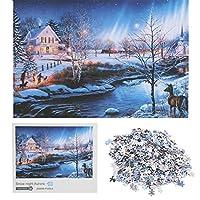 ジグソーパズルおもちゃ、ジグソーパズル、集中トレーニングおもちゃパズルゲームポータブル初期教育おもちゃクリスマスギフト記念ギフトキッズ大人((Snowy Night Aurora))