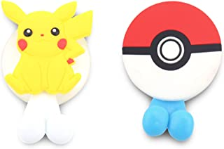 FinexSet of 2 Pokemon Ball Pikachu Toothbrush Holders with Suction Cup for wall in bathroom at home