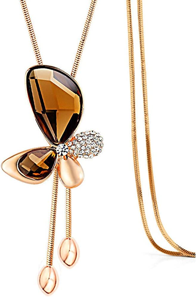 Merdia Long Chain Necklace Butterfly Pendant Sweater Necklace with Synthetic Crystals