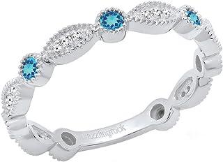 Sponsored Ad - Dazzlingrock Collection 14K Round Gemstone & White Diamond Ladies Vintage Style Stackable Wedding Band Rin...
