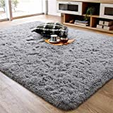Soft Fluffy Area Rug for Living Room Bedroom, 5x8 Grey Plush Shag Rugs with Non-Slip Backing, Fuzzy Shaggy Accent Carpets for Kids Girls Rooms, Modern Apartment Nursery Dorm Indoor Furry Decor