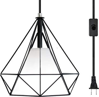 LuFun Industrial Plug in Pendant Light,Plug in Hanging Lamp with 16.4ft Hanging Cord and On/Off Switch,Mini Chandeliers with Metal Cage Shape for Kitchen Island Bedroom Bar
