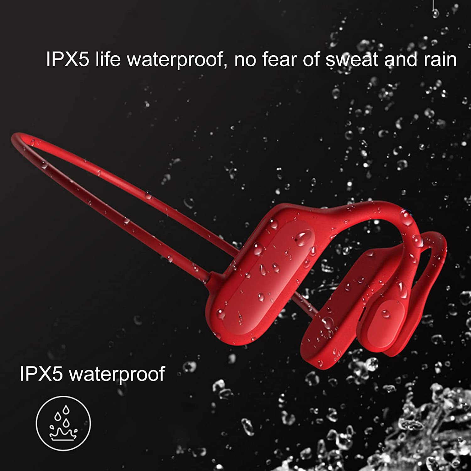 OCUhome Bone Conduction Headphones, BL09 Bluetooth Earphone IPX5 Life Waterproof Long Standby Stereo Wireless Hanging-Ear Bone Conduction Headset for Sports Red