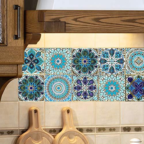 Adesivi per Piastrelle, Autoadesivi Impermeabile Marocchino Adesive retrò Vittoriano Mosaico Stile per Piastrelle Trasferimenti Fai da Te Adesivi per Cucina Bagno Decorazioni (C-30PCS, 10 x 10 cm)