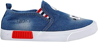 Hopscotch Boys Other Denim Pattern Graphic Print Sneakers in Blue Color