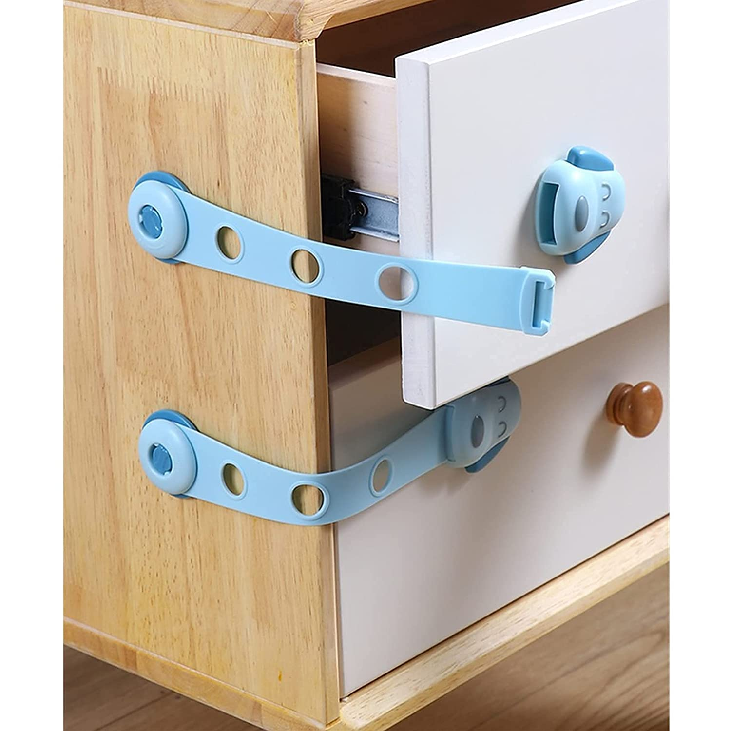 Baby proofing Cabinet Locks – Child Safety Strap Locks (4 Pack), Adjustable & no Drilling Adhesive Latches for Cabinets, Fridge, Drawers, Dishwasher, Toilet etc. Cute Child Lock by moooope.