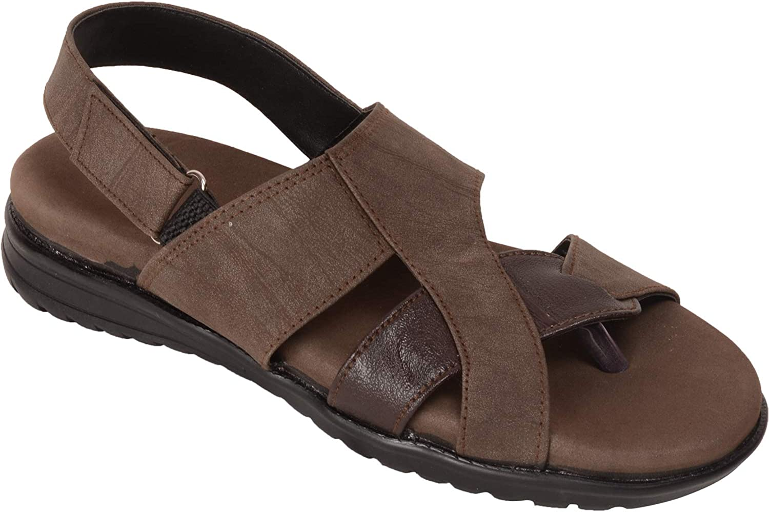 VONZO Men Brown Soft Cushion Sandal with Toe 27