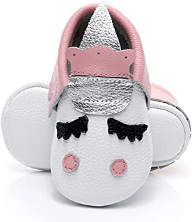 HONGTEYA Leather Baby Moccasins - Golden Unicorn for Boys Girls Toddler Crib Shoes