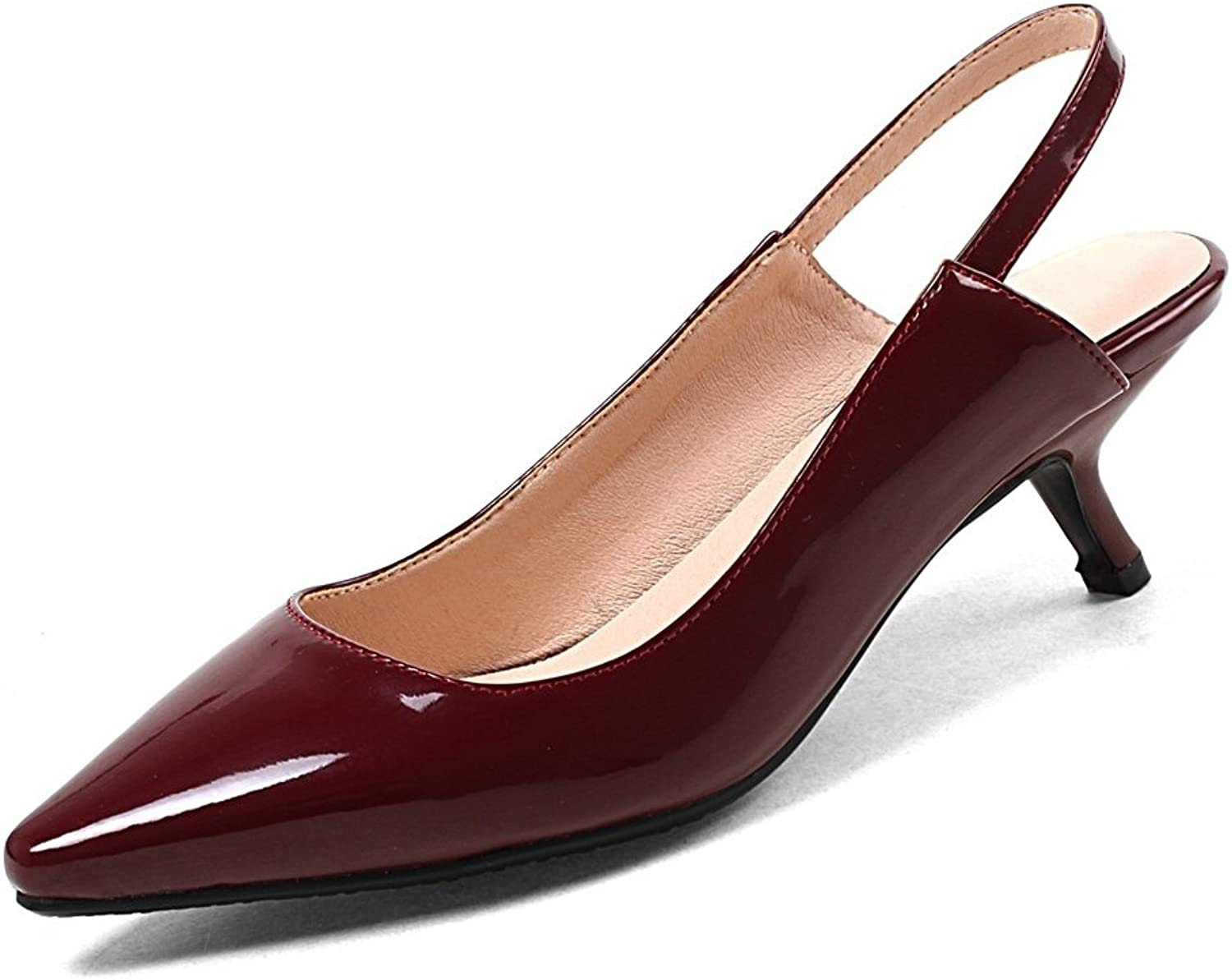 DecoStain Women's Classic Pointed Toe Patent Leather Slingbacks Slip-on Mid Thin Heels Daily Working Pumps shoes