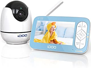 "iDOO Video Baby Monitor with Camera and Audio no WiFi, 5"" 720P HD Display, Remote Pan/Tilt/Zoom, 900ft Range, Two-Way Talk..."