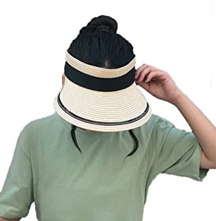 Straw Hat Beach Hat Round Cap Summer Shade Sunscreen Empty Top Basin Cap Women,B