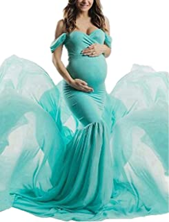 Maternity Off Shoulder Chiffon Gown Maxi Photography Dress for Photo Shoot Photo Props Dress