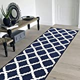 Pyramid Decor Area Rugs, Area Rugs, Runner Bugi Collection Moroccan Trellis Design Blue Area Rugs, Runner, Blue Runner Rug Non Slip Backing Runner Rug for Hallway (20' x 59')