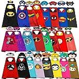 12 1CAPE + 1MASKスーパーヒーロー岬子供のためのコスプレスパイダーマン衣装ハロウィンパーティー衣装子供スーパーヒーローマント