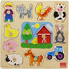 Goula- Puzzle Encajes Granja Madera 28x28cm, Multicolor, (Diset 53025) , color/modelo surtido