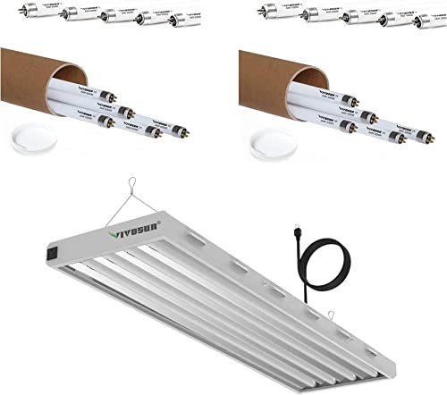 new arrival VIVOSUN 6500K 4FT T5 HO wholesale lowest Fluorescent Grow Light Fixture with T5 Fluorescent Tubes for Indoor Plants, Warm White and Cool White sale