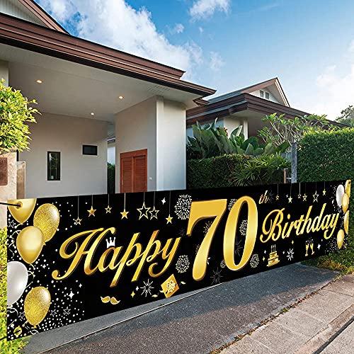 70 Cumpleaños Pancarta Oro Negro,70 Cumpleaños Pancarta Decoracion de Fiesta,70 Años Oro Negro Guirnalda Pancarta,70 Cumpleaños Pancarta,70 Decoración Colgante Pancarta de Bienvenida