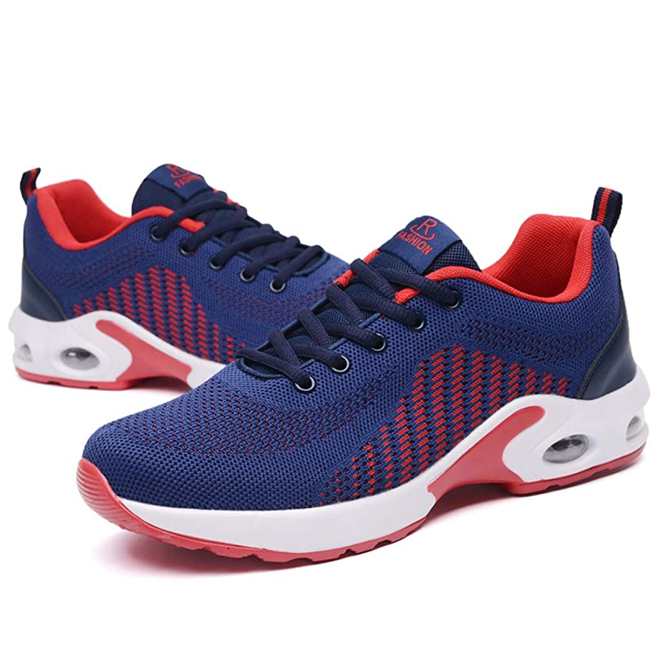 Mosunx Athletic Men's Air Cushion Sport Shoes, Teen Boys Lightweight Flying Weaving Breathable Sneaker Stretch Cushioning Shock Absorption Movement Shoes pnxtkj2404763